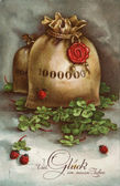 GERMANY - CIRCA 1936: Reproduction of an old postcard, shows a bag of money, ladybug and clover leaves, circa 1936. German text: Many Happy New Year! — Stock Photo