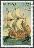 GUYANA - CIRCA 1990: A stamp printed in the Guyana, represented Galleon 1588, circa 1990 — Stock Photo