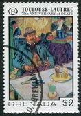 GRENADA - CIRCA 1976: A stamp printed in Grenada, is dedicated to the 75 th anniversary of the death of Henri de Toulouse-Lautrec, circa 1976 — Zdjęcie stockowe