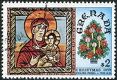 GRENADA - CIRCA 1977: A stamp printed in Grenada, depicts the Madonna and Child, Christmas, circa 1977 — Foto Stock