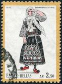 GREECE - CIRCA 1972: A stamp printed in Greece, depicts a traditional woman's dress, Sarakatsan, Attica, circa 1972 — Stock Photo