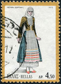 GREECE - CIRCA 1972: A stamp printed in Greece, depicts a traditional woman's dress, Megara, circa 1972 — Stock Photo