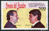 ECUADOR - CIRCA 1991: A stamp printed in the Ecuador, dedicated to the visit of the President of Bolivia, Ecuador, shows presidents Rodrigo Borja and Jaime Paz Zamor — Stock Photo