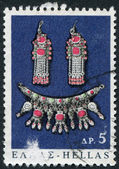 GREECE - CIRCA 1966: A stamp printed in Greece, shows the items of folk art, earrings, and chain, circa 1966 — Stock Photo