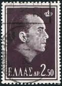 GREECE - CIRCA 1964: A stamp printed in Greece, shows the king, Paul of Greece, circa 1964 — Stock Photo