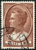 GREECE - CIRCA 1957: A stamp printed in Greece, shows the Queen Olga of Greece, circa 1957 — Stock Photo