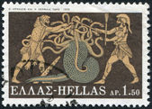 GREECE - CIRCA 1970: A stamp printed in Greece, shows the image on the amphora, the battle of Hercules with Lernaean Hydra, circa 1970 — Stock Photo