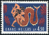 GREECE - CIRCA 1970: A stamp printed in Greece, shows the image on the amphora, the battle of Hercules and Achelous, circa 1970 — Stock Photo