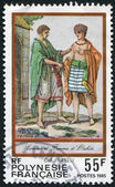 FRENCH POLYNESIA - CIRCA 1985: Postage stamps printed in French Polynesia, depicts a man and a woman from Otahiti in national costumes, circa 1985 — Stock Photo