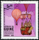 GUINEA BISSAU - CIRCA 1983: Postage stamps printed in Guinea Bissau, devoted to 200 anniversary of the balloon flight, circa 1983 — Stock Photo