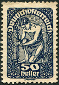 AUSTRIA - CIRCA 1919: A stamp printed in Austria, is shown Allegory of New Republic, circa 1919 — Stock Photo