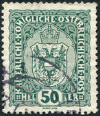 AUSTRIA - CIRCA 1916: A stamp printed in Austria, shows the national emblem of the empire, circa 1916 — Stock Photo
