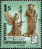 AUSTRIA - CIRCA 1995: A stamp printed in Austria, shows Detail of abbesse's crosier, St. Gabriel Abbey, Styria, circa 1995 — Stok fotoğraf