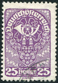 AUSTRIA - CIRCA 1920: A stamp printed in Austria, is depicted postal horn, circa 1920 — Stock Photo