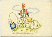 GERMANY - CIRCA 1938: Reproduction of an old postcard, shows a baby bunny and crawl through the grass, circa 1938. German text: The words of the folk song — Stock Photo