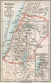 Map of Palestine the time of Jesus Christ and the Apostles. The Bible. Germany, circa 1895 — Stock Photo