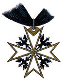 "Order of Saint John (Bailiwick of Brandenburg), (Prussia, 1099, restored in 1852). Publication of the book ""Meyers Konversations-Lexikon"", Volume 7, Leipzig, Germany — Stock Photo"