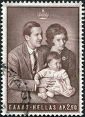 GREECE - CIRCA 1966: Postage stamps printed in Greece, shows King Constantine II, Queen Anne-Marie and Princess Alexia, circa 1966 — Stock Photo