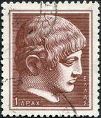 GREECE - CIRCA 1958: Postage stamps printed in Greece, shows the head of Antikythera Ephebe, circa 1958 — Stock Photo