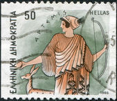 GREECE - CIRCA 1986: Postage stamps printed in Greece, shows Gods of Olympus, Artemis, circa 1986 — Stock Photo