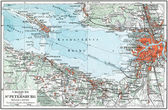 "GERMANY - CIRCA 1910: Map of St. Petersburg and the surrounding area, Kronstadt and the Gulf of Finland. Publication of the book ""Meyers Konversations-Lexikon"" — Stock Photo"