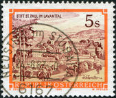 AUSTRIA - CIRCA 1984: A stamp printed in Austria, shows the Benedictine Abbey of St. Paul, Levanttal, circa 1984 — Stock Photo