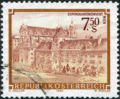 AUSTRIA - CIRCA 1986: A stamp printed in Austria, shows the Church of the Dominican Convent, Vienna, circa 1986 — Stock Photo