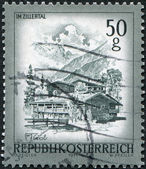 AUSTRIA - CIRCA 1975: A stamp printed in Austria, is shown Farmhouses, Zillertal, Tirol, circa 1975 — Stock Photo