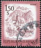 AUSTRIA - CIRCA 1974: A stamp printed in Austria, is shown Bludenz, Vorarlberg, circa 1974 — Stock Photo