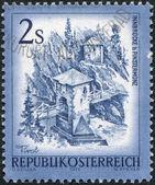 AUSTRIA - CIRCA 1974: A stamp printed in Austria, is shown Inn Bridge, Finstermuenz, circa 1974 — Stock Photo