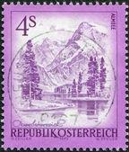 AUSTRIA - CIRCA 1973: A stamp printed in Austria, shows the lake Almsee, circa 1973 — Stock Photo