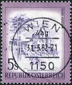 AUSTRIA - CIRCA 1973: A stamp printed in Austria, is shown Aggstein Castle, circa 1973 — Stock Photo