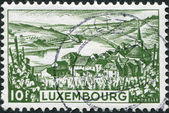 LUXEMBOURG - CIRCA 1948: A stamp printed in Luxembourg, shows Moselle River, circa 1948 — Stock Photo