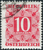 AUSTRIA - CIRCA 1949: A stamp printed in Austria, shows the numbers, face value stamps, circa 1949 — Foto de Stock