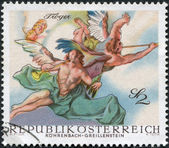 AUSTRIA - CIRCA 1968: A stamp printed in Austria, is shown Angels, from Last Judgment by Troger (Rohrenbach-Greillenstein Chapel), circa 1968 — Stock Photo