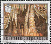 AUSTRIA - CIRCA 1991: A stamp printed in Austria, shows Obir Dripstone Caves, circa 1991 — 图库照片