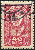 AUSTRIA - CIRCA 1920: A stamp printed in Austria, is shown Allegory of New Republic, circa 1920 — Stock Photo