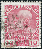 AUSTRIA - CIRCA 1908: A stamp printed in Austria, shows Franz Joseph I of Austria, circa 1908 — Stock Photo
