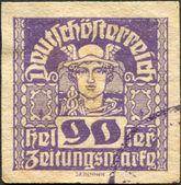 австрия - около 1921: марку, напечатанную в австрии, газетные марки, показывает ртуть, около 1921 — Стоковое фото