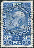 AUSTRIA - CIRCA 1910: A stamp printed in Austria, is dedicated to his 80th birthday Franz Joseph I, circa 1910 — ストック写真