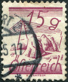 AUSTRIA - CIRCA 1925: A stamp printed in Austria, is depicted Fields Crossed by Telegraph Wires, circa 1925 — Stock Photo
