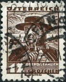 AUSTRIA - CIRCA 1934: A stamp printed in Austria, shows a farmer from Traunkreis, Lake Traunsee and Schloss Ort, circa 1934 — Stock Photo