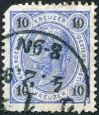 AUSTRIA - CIRCA 1890: A stamp printed in Austria, shows Franz Joseph I of Austria, circa 1890 — Stock Photo