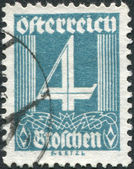 AUSTRIA - CIRCA 1927: A stamp printed in Austria, shows a figure, the price of stamps, circa 1927 — Stock Photo