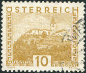 AUSTRIA - CIRCA 1929: A stamp printed in Austria, is shown Burg Gussing, Burgenland, circa 1929 — Stock Photo