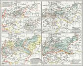 "Map of the history of Prussia, under the version of Carl Wolf. Publication of the book ""Meyers Konversations-Lexikon"", Volume 7, Leipzig, Germany, 1910 — Stock Photo"