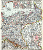 "Map of the North-East Germany. Publication of the book ""Meyers Konversations-Lexikon"", Volume 7, Leipzig, Germany, 1910 — Stock Photo"