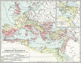 "Map of the Roman Empire, 2nd century AD. Publication of the book ""Meyers Konversations-Lexikon"", Volume 7, Leipzig, Germany, 1910 — Stock Photo"