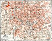 "Map of Rome. Publication of the book ""Meyers Konversations-Lexikon"", Volume 7, Leipzig, Germany, 1910 — Stock Photo"