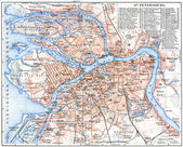 "GERMANY - CIRCA 1910: Map of St. Petersburg. Publication of the book ""Meyers Konversations-Lexikon"", Volume 7, Leipzig, Germany, circa 1910 — Stock Photo"